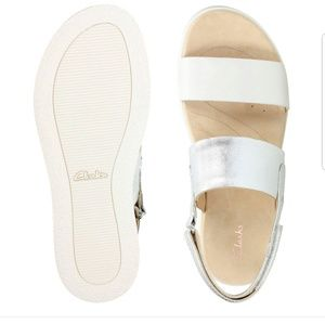 Clarks Botanic Rose Silver White Leather Sandal